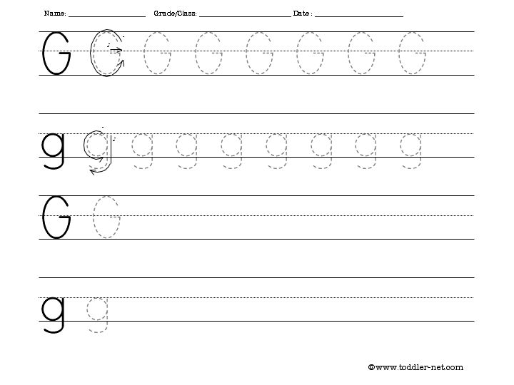 Tracing and Writing Letter G Worksheet – Letter G Worksheets for Preschool