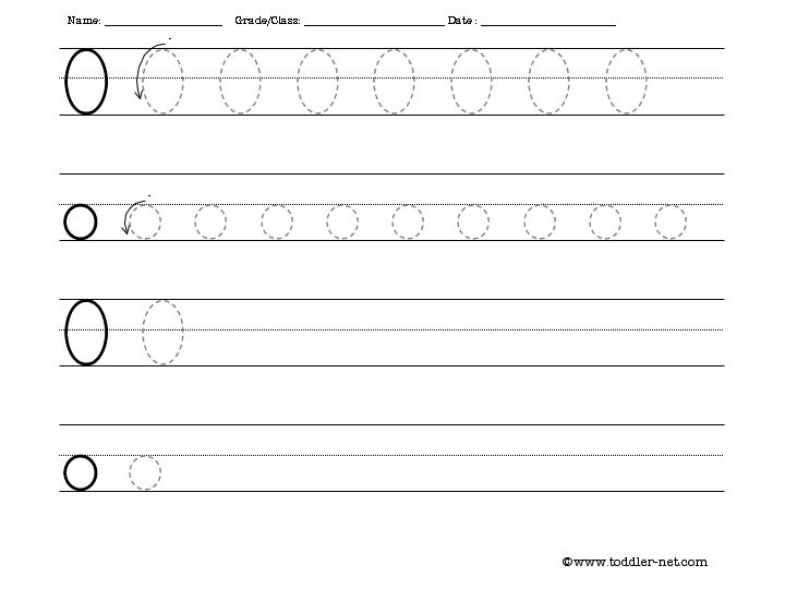 Tracing and Writing Letter O Worksheet