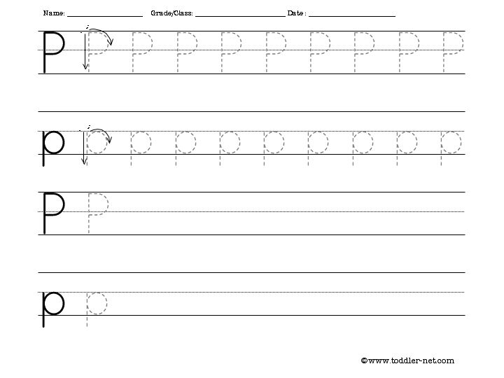 Tracing and Writing Letter P Worksheet