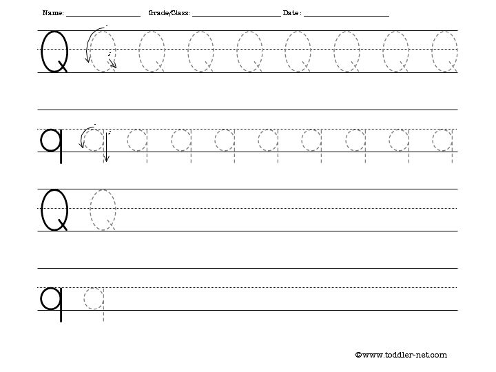 Number Names Worksheets free letter writing worksheets : Letter Q Writing Worksheets - Intrepidpath