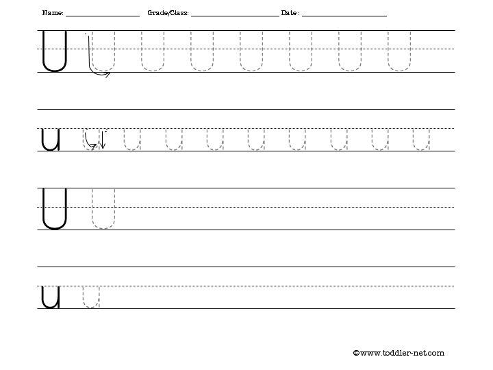 Tracing And Writing Letter U Worksheet