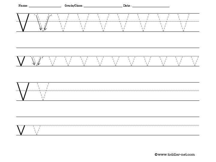 Tracing and Writing Letter V Worksheet