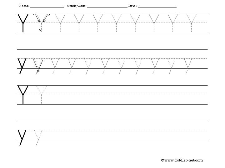 Tracing And Writing Letter Y Worksheet