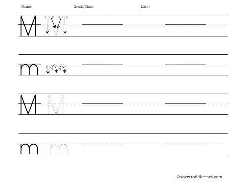 Number Names Worksheets practice letter writing worksheets : Letter M Worksheet