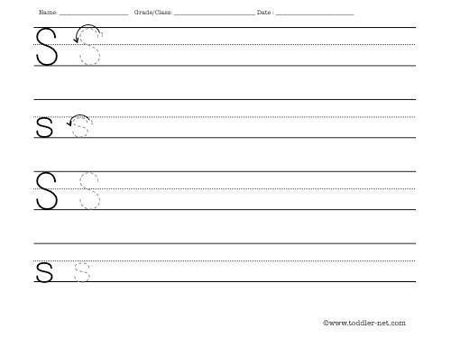 Number Names Worksheets practice letter writing worksheets : Letter S Worksheet
