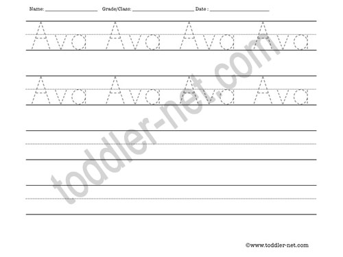 image of Ava Tracing and Writing Worksheet