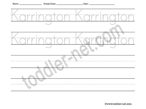image of Karrington Tracing and Writing Worksheet