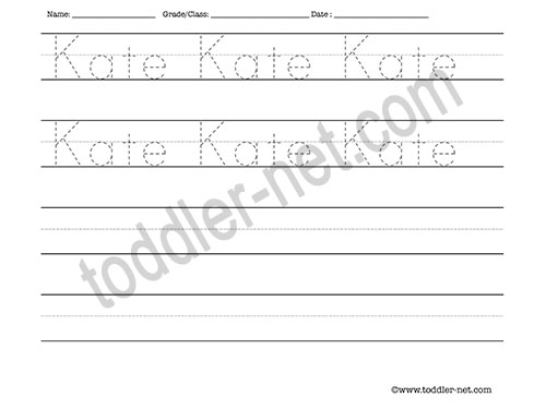 image of Kate Tracing and Writing Worksheet