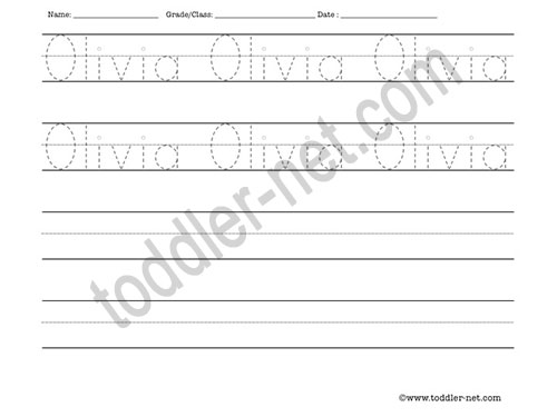 image of Olivia Tracing and Writing Worksheet