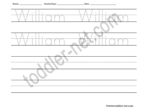 image of William Tracing and Writing Worksheet
