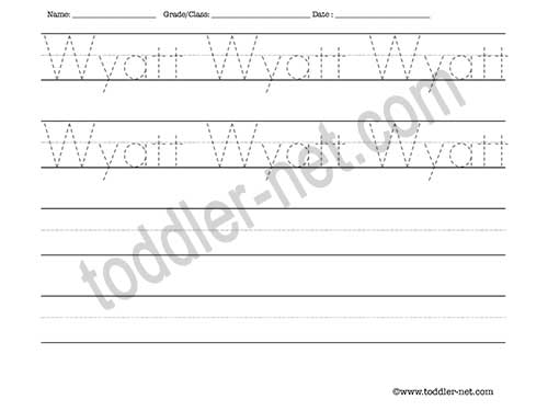 image of Wyatt Tracing and Writing Worksheet