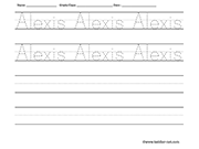 Name tracing and writing worksheet - Alexis