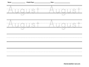 Name tracing and writing worksheet - August
