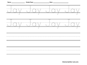 Name tracing and writing worksheet - Jay