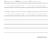 Name tracing and writing worksheet - Juliana