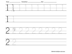 numbers 1 and 2 worksheet for tracing and writing