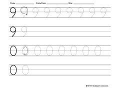 numbers 9 and 0 worksheet for tracing and writing