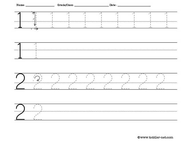 Printables Number Tracing Worksheets printable writing worksheets numbers tracing 1 and 2 worksheet