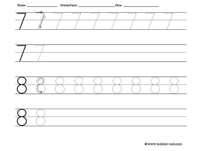 Tracing Worksheet - Numbers 7 and 8