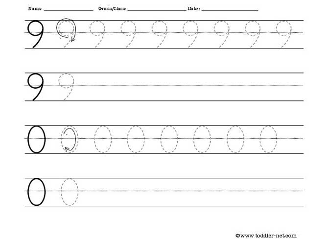 Tracing Worksheet Numbers 9 and 0 – Number Tracing Worksheets