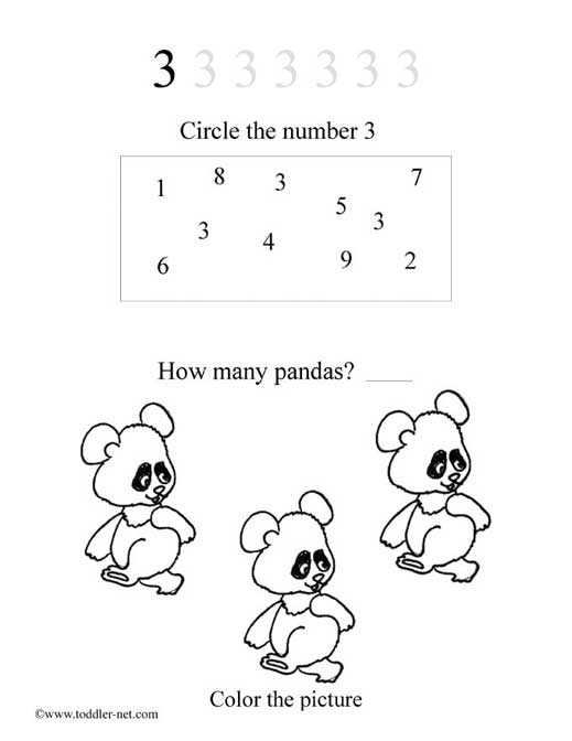 Free Printable Numbers Worksheets and Activity Sheets for Kids – Number 3 Worksheets