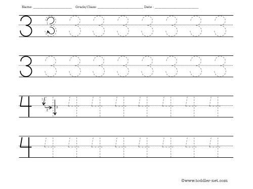 Number Names Worksheets tracing number worksheets : Worksheet for tracing numbers 3 and 4