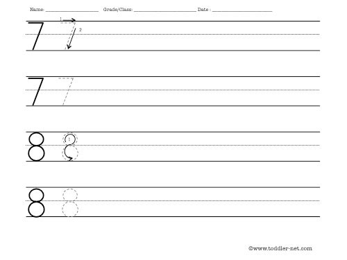 Number Names Worksheets number practice writing : Worksheet to practice writing numbers 7 and 8