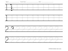 numbers 1 and 2 tracing worksheet