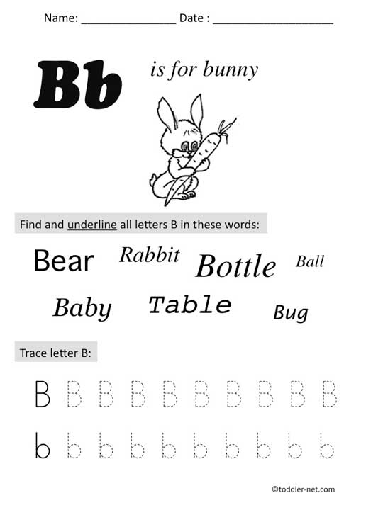 Free Printable Letter B Preschool Worksheet