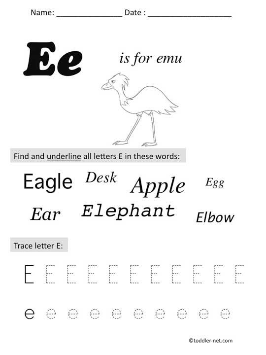 Free Printable Letter E Preschool Worksheet