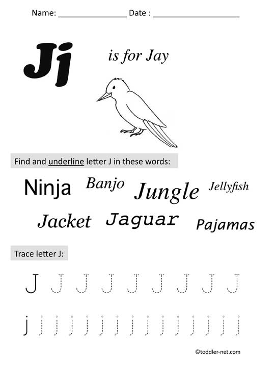 graphic relating to Letter J Printable titled Cost-free Printable Letter J Preschool Worksheet