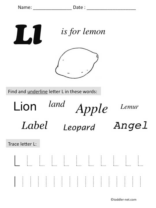 Worksheet Letter L Worksheets For Preschool free printable letter l preschool worksheet l