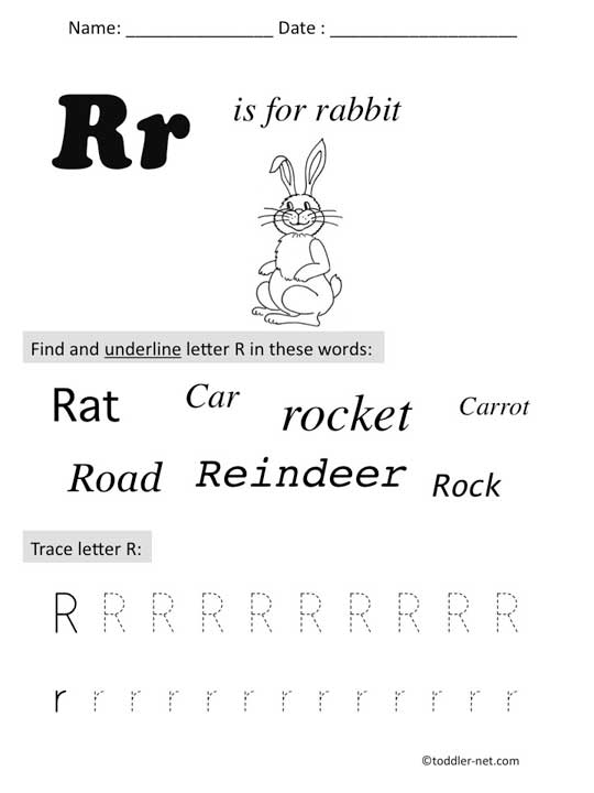 Free Printable Letter R Preschool Worksheet
