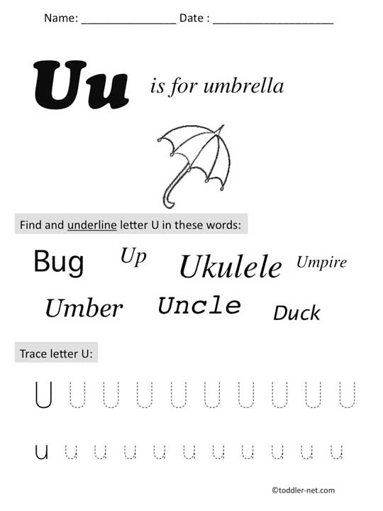 Free Printable Letter U Preschool Worksheet