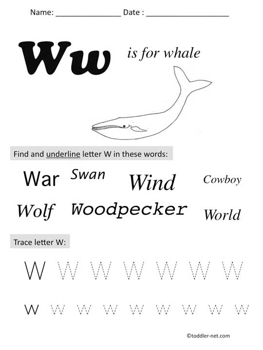 W Worksheets For Preschoolers - letter w worksheets ...