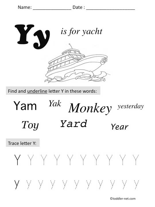 photograph regarding Printable Letter Y referred to as Cost-free Printable Letter Y Preschool Worksheet