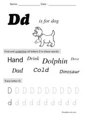letter D Preschool Worksheet