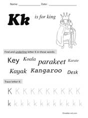 letter K Preschool Worksheet