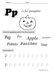letter P Preschool Worksheet