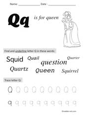 letter Q Preschool Worksheet