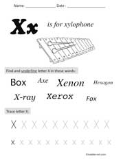 letter X Preschool Worksheet