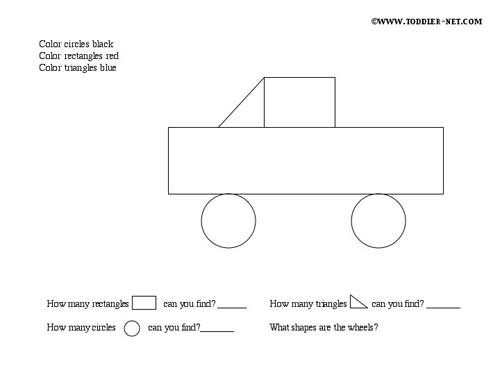 image regarding Printable Shapes for Preschoolers referred to as Designs Match Sheets - Truck