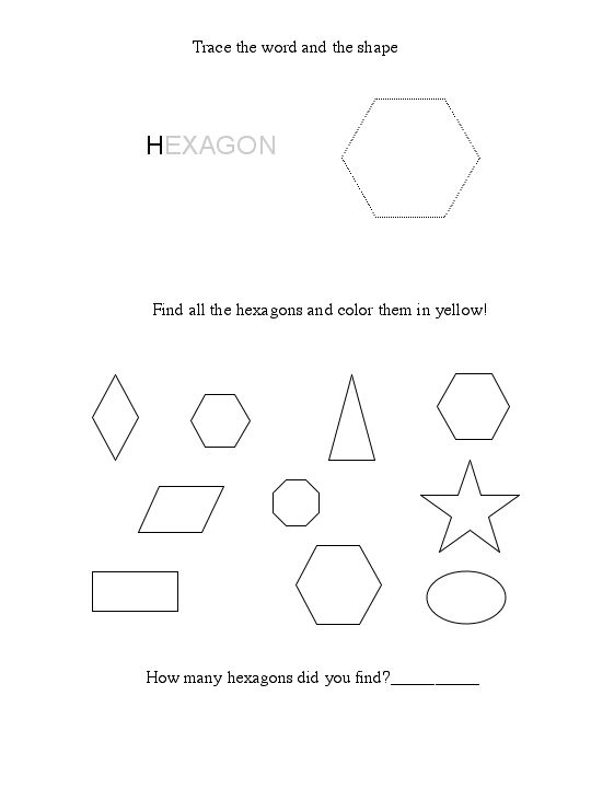 Printables Hexagon Worksheets free hexagon worksheet shape worksheet